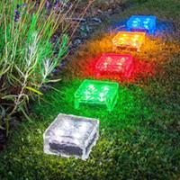 Wholesale Solar Ice Brick - Creative design Led solar lamp ice brick ground light cube shaped solar garden light multi colors wireless undergroud lawn lamp