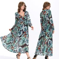 Wholesale Long Sleeved Chiffon Maxi Dress - 2016 New Summer casual dresses chiffon printing v-neck elastic waist long-sleeved african dresses plus size women green