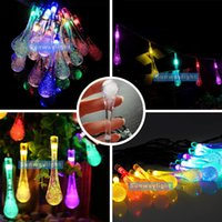 Wholesale Led Lamp Metre - Solar Water Drop LED String 20 LEDS 4.8 Metre Garden Christmas Lights string Outdoor Christmas Xmas Wedding Party Holiday decor lamps