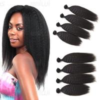 Wholesale Tangle Free Kinky Straight Hair - Kinky Straight Human Hair Wefts No Shedding No Tangle Malaysian Coarse Yaki Virgin Hair Extensions G-EASY DHL FREE