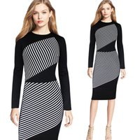 Wholesale Sexy Dress For Night Party - S-5XL Women Elegant Full Sleeve Striped Panelled Pencil Dress For Women Fashion Patchwork Slim Plus Size Party Night Out Dresses