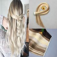 remy menschenhaar blonde seidig großhandel-PU-Klebeband in der Haarmenschenhaarverlängerung seidigem geradem 100% Remy Menschenhaar # 60 platinblond Partei-Art Freies Verschiffen