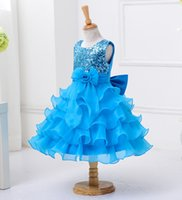 Wholesale Show Girls Dresses - Babydoll Dress Pageant Party Dresses girl, performance shows dress, baby girl lace arabic wedding dress 5 colors choosen