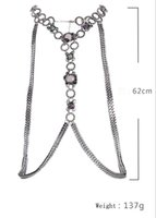 Mulheres Sexy Rhinstone Twist Circle Snake Chain Bikini Beach Cross Body Chain Necklace