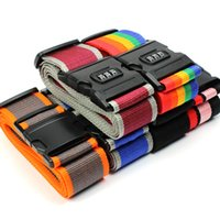 Wholesale Luggage Lock Strap - Stripe Travel Luggage Suitcase Strap Combination Secure Lock Safe Belt Strap 2m Baggage Belt Packaging Belt With Password DHL