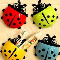 Wholesale Tooth Brush Cup - New Ladybug Cartoon Sucker Toothbrush Holder Cute Suction Hook Tooth Brush Rack Accessories Set Suction Cup Tool For Bathroom