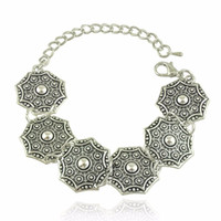 Wholesale India Charms - Gypsy Bohemian Beachy Chic Carving Charms Bracelet Festival Silver Ethnic Turkish India Tribal Jewelry Lots 12 Pcs