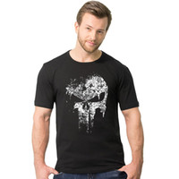 Wholesale Shirt Hero - 100% Cotton Men Streetwear Skull Hip Hop T-Shirts Punisher Super Hero Harajuku Men T Shirt Crossfit Tops tshirt TX147 RF