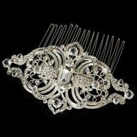 yeni gümüş gelin saç aksesuarları toptan satış-Yeni Geliş Vintage Kaplama Gümüş Yüksek Kalite Gelin Takı Kristal Rhinestone Düğün Gelin Tarak Gelin Saç Aksesuarları Sıcak Alışveriş