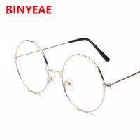 Wholesale Large Metal Circle - Wholesale- Clear Lens Oversized Huge Large Round Glasses Gold Metal Eyeglasses Huge Circle Round optical Glasses frame eyewear no degree