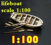 holzboot schiff modell großhandel-Kostenloser Versand Komponenten 1/100 Halcon1840 Mini-Rettungsboot Holzmodell / Fertigsegel / Messing-Updates Nicht enthalten das Bootsmodell