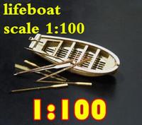modelo de navio de barco de madeira venda por atacado-O envio gratuito de Componentes 1/100 Halcon1840 Mini lifeboat modelo de madeira / terminou vela / latão atualizações Não incluem o modelo de barco