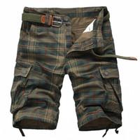 spandex de algodón para la venta al por mayor-Al por mayor-camuflaje Plaid diseño para hombre pantalones cortos bolsillos multiusos Bermuda del ejército verde cortocircuitos moda masculina 2016 algodón cortocircuitos flojos homme Venta