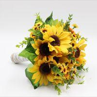 ingrosso giallo bouquet artificiali-Bouquet di fiori gialli freschi di girasole Fiori artificiali di fiori fornitori fleur artificielle bouquet de mariage bouquet sposa