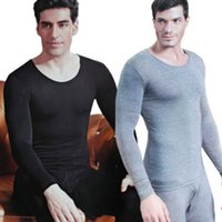 Wholesale Thermal Neck Collar - 2 pieces Underwear Cotton Men Thermal Underwear Long Round neck Collar Men's Warm Underwear Suit Men Long Set