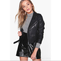 Wholesale Pink Fur Jacket Small - 2017 burst fashion small leather ladies short section of autumn and winter leather jacket version of lapel jacket