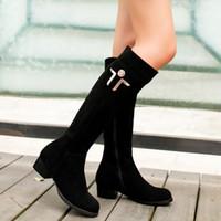 artı küçük boyutlu yüksek topuklu ayakkabılar toptan satış-Çizmeler Hakiki deri kalın topuk fermuar yüksek bacak artı boyutu 40 41 42 43 küçük metre ayakkabı 31 32 33 yüksek topuk 3.5 CM EUR Boyutu 30-44