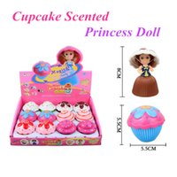 Wholesale Wholesale Girl Cupcake Dresses - Cupcake Scented Princess Doll with Soft Dresses 6 Flavors Magic Toys For Girls 12pcs box DHL free