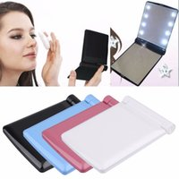 Wholesale Ladies Hand Mirror - Foldable Women Makeup Mirrors Lady Cosmetic Hand Folding Compact Pocket Mirror 8 LED Lights
