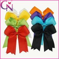 Wholesale Large Alligator Clips Wholesale - Wholesale 24 pcs lot 6 inch Solid Color Double Layers Large Cheer Bow Girls Hair Bow Baby Kids Cheerleading Bows With Alligator Clip