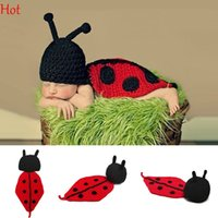 Wholesale Knitted Baby Animal Outfits - Cute Newborn Costume Hats Baby Girls Boy Knit Crochet Props Ladybug Animal Cartoon Clothes Photo Prop Outfits Beanie Red Wholesale SV007054