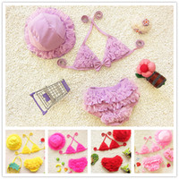 Wholesale Baby Girl Fashion Bikini Pink - 2016 New Hot Lovely Girls Bikini Swimwear For Children 3 pcs set Swimsuit Fashion Pleated Lace Baby Bathing Suits 1-10T