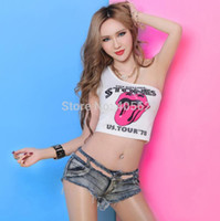 Wholesale-Sexy Oblique Shoulder Lips Pattern Practice Tops T-shirt Party Girl Dancer DS Costome Nightclub Hip-hop Jazz Stage Wear # 8116
