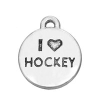 DIY Handmade Sports Charm Antique Silver Plated Metal I Love Hockey Sport Charms Jewelry