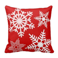 Wholesale Snowflake Cushions - White Snowflake Christmas Cushion Covers Red Decorative Christmas Throw Pillow Case Christmas Decoration 18&Quot ;Cotton Two Sides