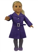 Wholesale Doll Leggings - New Style 18 inch Purple and Blue Color American Girl Doll Clothes of King-size Coat with Striped Leggings