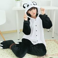 Wholesale Panda Costume Cheap - Wholesale-Cheap DHL Adult Kigurumis Winter Flannel Cartoon Kung Fu Panda Party Pajamas Onesie Unisex Cosplay Costume Homewear Plus Size