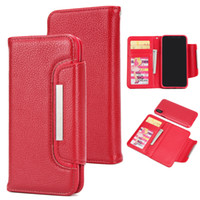 Wholesale Iphone 5c Folio - For iphone X 7 8 Plus 6 6s iphone 6 plus 6s Plus 5s 5c 4s 2 in 1 Lychee Pattern Folio Wallet Leather Case With Magnetic Detachable Case