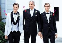 Wholesale 48 Suit Size - 2017 New Free Shipping GenerousTop selling White Jacket Plus Size Black Satin Lapel Groom Tuxedos Groomsmen Best Man Suit Mens Wedding Suit