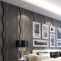 Wholesale Wave Lines Stripes modern wallpaper grey non woven wallcovering classic glitter wall paper background wall wallpaper living room