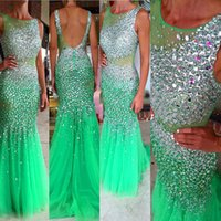 Wholesale Evening Dresses Crystal Tulle Transparent - Free Shipping Crystal Evening dress Long Turquoise O-Neck Beaded Tulle Transparent Navy Blue Mermaid Prom Gowns vestidosdenoiva