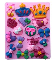 Wholesale Lace Chocolate Mold - 3D Various Crowns&Bows Shape Silicone Mold Fondant Mold Chocolate Sugar Lace Mold