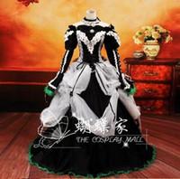 cosplay de navidad vocaloid al por mayor-Vocaloid cosplay y DATE A LAnime Vocaloid cosplay blanco negro Vestido Loro Rita traje de mucama Disfraz de Halloween para mujer para fiesta / navidad