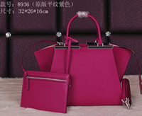 Wholesale Leather Fashion Bags Line - Women 3 Jours Purple Color Soft Calfskin Leather Shoulder Bag,Zipped Top Closure,Nappa Leather Lining,Silver Hardware,Leather Shoulder Strap