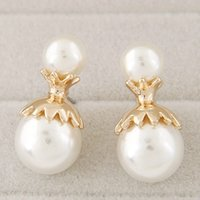 Wholesale Korean Personality Studs - Big Small Pearl Balls Stud Earrings For Women Korean Fashion Personality Metal Jewelry Accessories Hot Wholesale