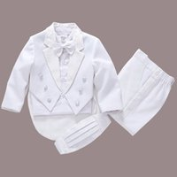 Wholesale Formal Dressing For Baby Boys - 2017 new fashion white baby boys suit kids blazers boy suit for weddings prom formal spring autumn wedding dress boy suits