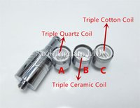 Wholesale Glass Wax Cartomizer - D-CORE Triple coils wax Quartz atomizer Ceramic Cotton rob wax Coil vaporizer wax cartomizer VS Dual Coil Skillet Globe Glass V2 Cannon
