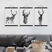 Wholesale Elephant Frame - Black White Modern Animal Silhouette Deer Elephant Wooden Framed Canvas Painting Home Decor Wall Art Print Picture Poster Hanger