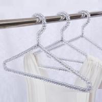 ingrosso ganci rivestiti di gregge-Moda acrilico perline Hanger Abbigliamento donna Gonne Abito display Lady Appendiabiti in cristallo Spedizione gratuita ZA4235