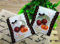 çerez paketleme torbaları toptan satış-Cadılar bayramı Kabak Yarasa Ambalaj Çanta Kendinden yapışkanlı Şeker Hediyeler Çanta Kabak Parti Tasarım Çerez Bisküvi Snack Temizle Opp Torba Paketi Ambalaj