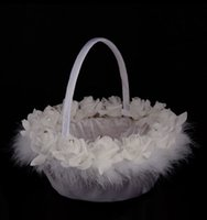 Wholesale Basket Bamboo - Wedding Ceremony Love Case Beads Lace Ostrich Hair Hand Made Flower Basket Bamboo Weaving for Home Decoration Storage Bag Container BD032