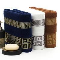 toalhas de banho grandes venda por atacado-Frete grátis luxo 100% algodão toalha de banho marca serviette de bain adulte bordado grandes toalhas de praia 70x140 cm
