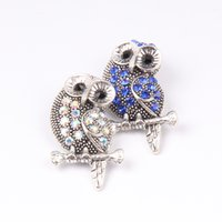 Wholesale toggle clasp link necklaces - New Big Size Animal Owl Snap Buttons 18mm Interchangeable Noosa Flower Ginger Snap Jewelry DIY Necklace Bracelet Accessory
