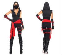 Wholesale Ninja Sexy Costume - 2017 New Arrival Black Deep V Ninja Costume Sexy Cosplay Halloween Uniform Temptation Stage Performance Clothing Hot Selling