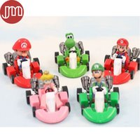 "Wholesale Luigi Peach Figures - New 5 PCS Super Mario Bros Cars Peach Koopa Wario Yoshi Bowser Luigi Pull Back Kart 1"" Action Figure Kids Toys Brinquedos"