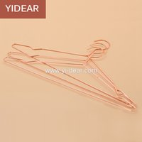Wholesale Metal Pants Hangers - Yidear elegant rosy gold steel clothes hanger metal wire copper coat hangers, t shirt hanger,dress hanger